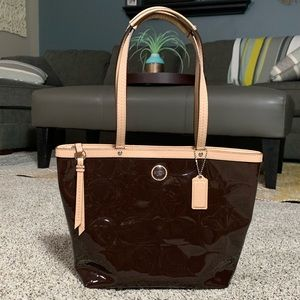 Coach Signature Embossed Leather Tote